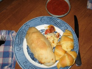 This is Dave's plate with the added Crescent Rolls!